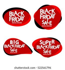 Set speech bubble banners, element design template, Black Friday Sale, app icon, vector