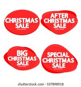 Set speech bubble banners, element design template, Christmas Sale, app icon, vector