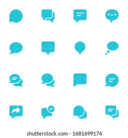 Set of Speech Bubble chat vector icons. Filled chat icon set.