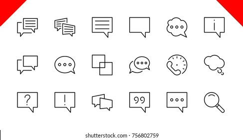 Set of speech bubble chat vector lines of icons. Editable move. 32x32 pixels.