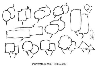 Set of Speech Bubble Hand drawn doodle Sketch line vector scribble