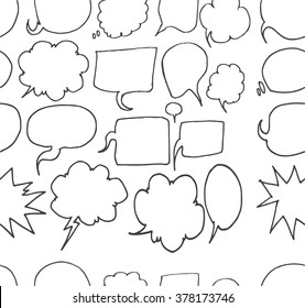 Set of Speech Bubble Hand drawn doodle Sketch line vector scribble seamless