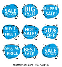set of speech bubble shape use for promotion sale