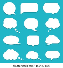 Set of speech bubble, textbox cloud of chat for comment, post, comic. Dialog box icon, message template. Different shape of empty balloons for talk on isolated background. cartoon vector illustration