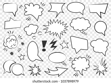 Set of speech bubbles. Set of blank template in Pop Art style. Vector illustration