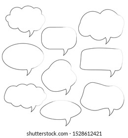 Set of speech bubbles. Cartoon Vector illustration. Isolated on transparent white background. Hand draw style, dialog clouds.