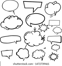 Set speech bubbles, collection of flat style vector speech bubbles, clouds, balloons - Vector