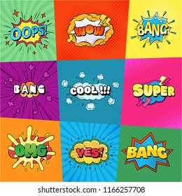 Set of speech bubbles comic clouds. Thought, speech bubble, dream cloud. Wow, boom, cool, lol yes bang super Vector illustration