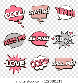 Set of speech bubbles in comic style for Valentine's day. Smile! Cool! Be mine. Oops. Love. Yeah! Kiss me. Xo xo. Call me. Vector illustration in gray and pink colors.