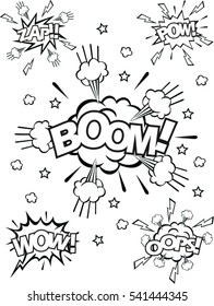 set of speech bubbles with dialog words: boom,pow,zap,wow,ops