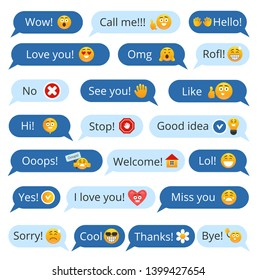 Set of speech bubbles with different words and smileys for communication in social media. Isolated vector illustration.