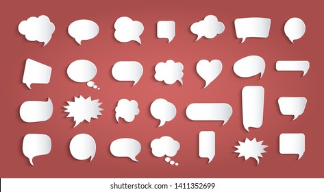 Set speech bubbles empty. Paper chat cartoon bubbles shape and word box for entering text message. Dialogue and communication bubble. Empty balloon. Collection modern vector clouds isolated