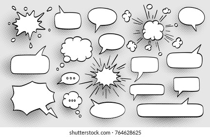 Set of speech bubbles. Halftone shadows. Vector illustration