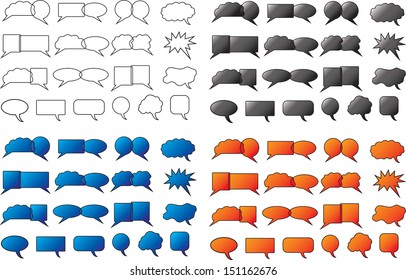 Set of speech bubbles illustrated on white background