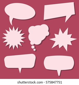 Set of speech bubbles on a red background without phrases. Vector illustration.