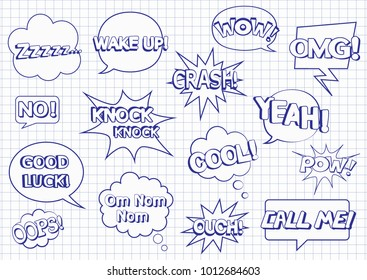 Set of speech bubbles. Pop art objects. Coloring pages.Om Nom Nom. Zzzzz... Knock Knock. No. Wake up. Good luck. Cool. Ouch. Wow. Pow. Oops. Call me. Yeah. Crash. OMG. Vector illustration.