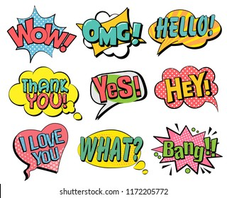 Set of speech bubbles in retro style. Vector illustration isolated on white background