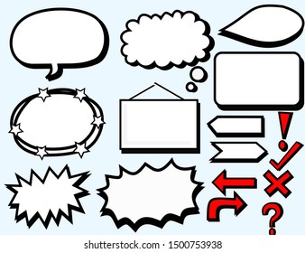 Set of speech bubbles.Text box vector design.Flat vector banners isolated background.Arrow doodle on background.The symbol sticker is used for note-taking.Set of red and white signs.