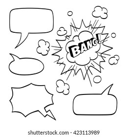 Set of speech comic bubbles isolated on white background. Comic sound effect. Vector illustration.