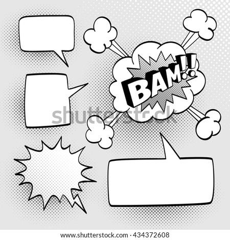 set speech comic bubbles comic sound のベクター画像素材