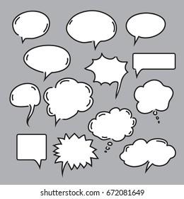 Set of speech and comics bubbles. Vector Illustration.