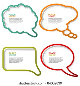 Set of speech and thought bubbles, element for design. Vector illustration