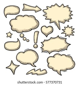 Set speech and thought doodle bubbles. Isolated on white background. Vintage black and beige vector engraving illustration for poster, info graphic, web
