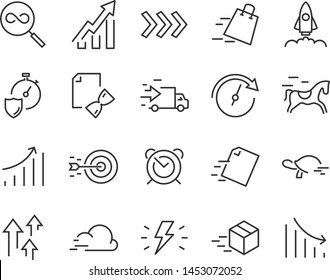 set of speed icon, such as agile, fast, up, increase, rising, accelerator