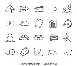 set of speed icon, such as, fast, run, send, boost, growth