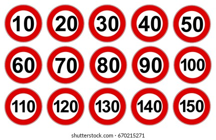 Set speed limit signs - stock vector