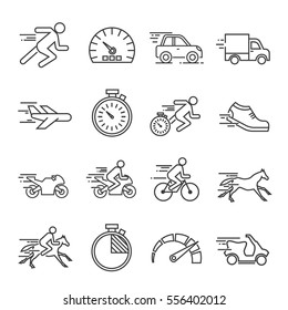 Set of speed Related Vector Line Icons. Includes such Icons as, speedometer, aircraft speed, car, motobike, running, horse speed, stopwatch