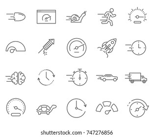 Set of speed Related Vector Line Icons. Includes such Icons as  speedometer,  rocket, snail, turtle, time and more.