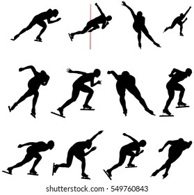 Set speed skating skater men and women black silhouette vector illustration