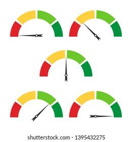 Set speedometer icon isolated on white background. Vector illustration. Eps 10.