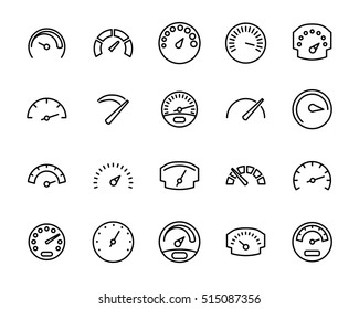 Set of speedometer icons in modern thin line style. High quality black outline odometer symbols for web site design and mobile apps. Simple linear speedometer pictograms on a white background.