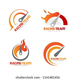 Set of speedometer logo design. Racing team icon template. Speed service engine vector illustration. Transportation concept collection