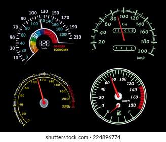 Set of speedometers panels for design. Vector illustration