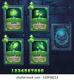 Set spell cards of haze, life's tears, poison spit, poison rain. For web, video games, user interface, design