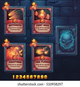 Set spell cards of meteorite, fiery gaze, firestorm, fire flowes. For web, video games, user interface, design