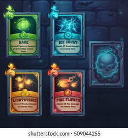 Set spell cards of nature, ice, fire, light. For web, video games, user interface, design
