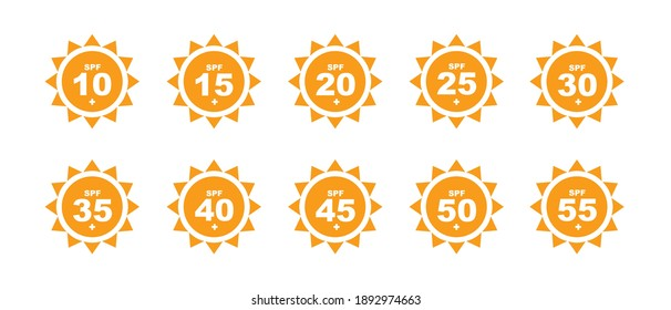 Set of SPF protection icons with suns. UV block symbols, sunblock signs, silhouettes. Sunscreen skincare graphic element, cosmetics packaging labels with SPF from 10 to 55 pictograms