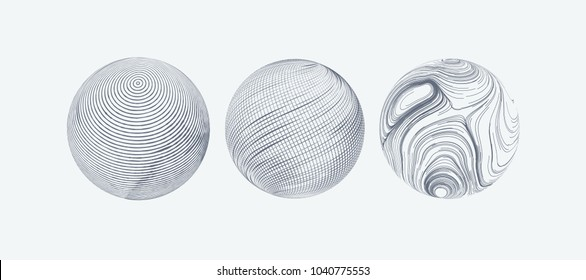 Set of spheres with engraved texture. Vector illustration. Decorative elements for design. Outline linear pattern. Stamped circles. Abstract artistic sketch.