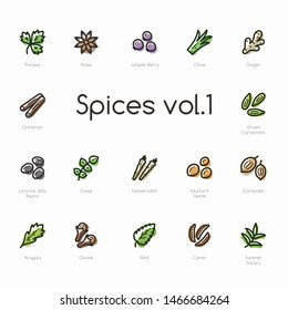 Set of spices line icons isolated on light background. Contains such icons as cinnamon, arugula, cloves, chive, cumin and more.