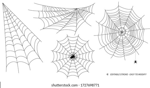 set of spider web or spider home insect or small spider in the web concept. editable stroke - eps 10 vector,