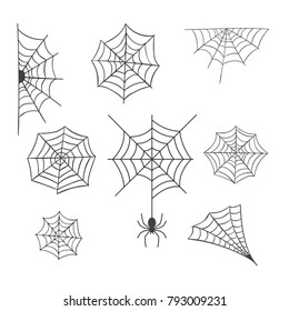 Set of Spider Web Vector Illustration