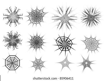 set of spider web. vector illustration