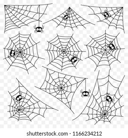 halloween monochrome spider web spiders isolated stock vector