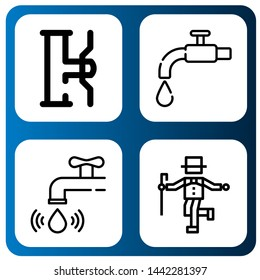 Set of spigot icons such as Water tap, Tap , spigot