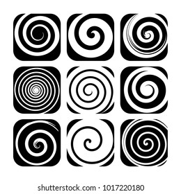 Set of spiral motion elements, black isolated objects, different brush texture, abstract vector illustrations.