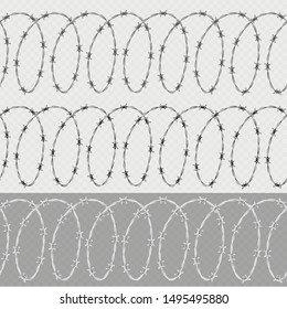 Set of spiral shape barbed wire isolated on transparent background. Horizontal seamless pattern with twisted barbwire. EPS 10